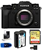 Fujifilm X-T4 Mirrorless Digital Camera Body (Black) Bundle, Includes: SanDisk 64GB Extreme SDXC Memory Card, Spare Battery + More (6 Items)