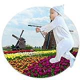 Molino de viento holandés con tulipanes tapete redondo lavable antideslizante para sala de estar, cocina, dormitorio, decoración del hogar 2.62'