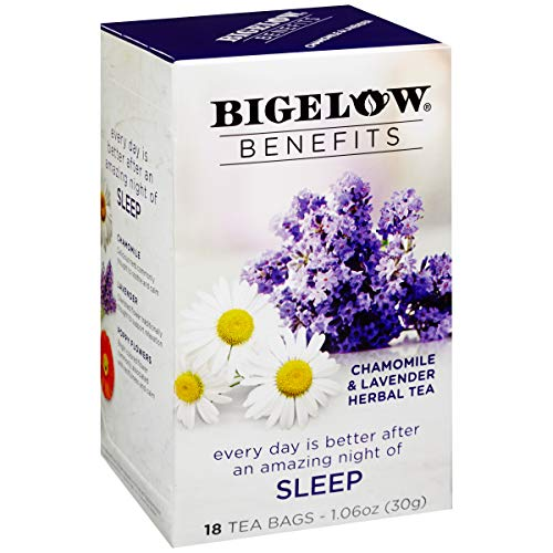 Bigelow Benefits Sleep Chamomile Lavender Herbal Tea, 18 Count Box (Pack of 6), Caffeine Free Herbal Tea, 108 Tea Bags Total