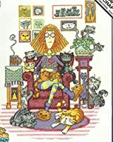 Cats and Home, cotton small easy Cross Stitch Kit landlady and all her cats cotton cross stitch kits