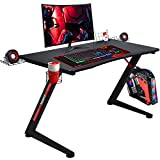 GTRACING Gaming Desk Computer Office PC Gamer Table Racing Style Professional Game Station Z-Shaped with Gaming Controller Tablet Stand & Cup Holder, Black