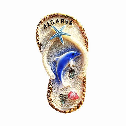 Algarve Portugal 3D Flip Flop - Imán para nevera (regalo de recuerdo, hecho a mano, decoración del hogar y la cocina, colección de imanes de nevera Algarve