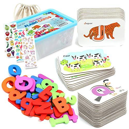 ZaxiDeel ABC Buchstaben und Zahlen Alphabet Karteikarten aus Holzblöcke, Frühpädagogisches Spielzeug und Fremdsprachliche Erziehungsmittel