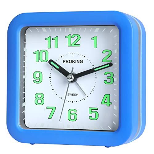 Analog Wecker,Geräuschlos Reisenwecker Leise Ohne Ticken Einfach zu bedienen Wecker für Kinder,Schlummer und Lichtfunktionen Nachttisch Tabelle Wecker(Blau)