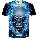 Yvelands Skull 3D Printed Tees Shirt Moda Guapo de los Hombres Divertido Casual O-Cuello Slim T-Shirts Blusa de Manga Corta Tops Vacaciones de Verano de la Playa, Liquidación (Azul, XXXL)
