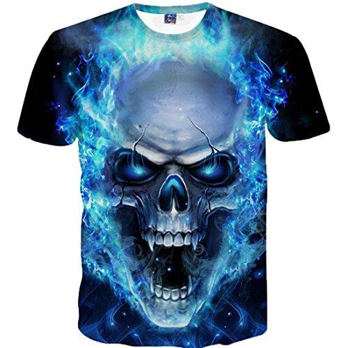 Yvelands Skull 3D Printed Tees Shirt Moda Guapo de los Hombres Divertido Casual O-Cuello Slim T-Shirts Blusa de Manga Corta Tops Vacaciones de Verano de la Playa, Liquidación Barato! (Azul, XXXXL)