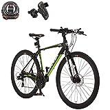 カノーバー(CANOVER) クロスバイク 自転車 鍵 スマホホルダーセット 21段変速 ディスクブレーキ CAC-027-DC ATHENA マットブラック 49898