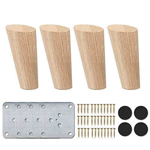 8cm Holz Tischbeine, La Vane 4 Stück Massivholz Schräg Konisch Ersatz Möbelfüße Möbelbeine mit Montageplatten & Schrauben für Sofa Bett Schrank Couch Stuhl