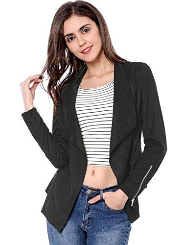 Allegra K Women's Moto Faux Suede Jacket Lightweight Open Front Lapel Draped Outwear Cardigan Medium Black