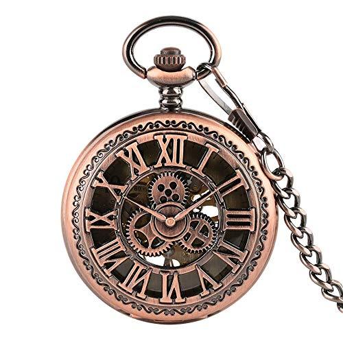 DZNOY Reloj de Bolsillo, Cubierta de Engranajes Huecos de Cobre Rojo Mata de bobinado Meca con Cadena de 30 cm dial de Esqueleto Relojes Relojes Relojes de Reloj Reloj de Bolsillo (Color : Copper)