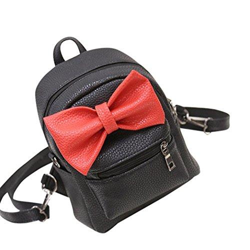 Borse Scuola Donna, Dorame Il Tuo Mini Nuovo Stile Backpack Zaino Scuola in PU, Bowknot Donne Borsa (Nero)