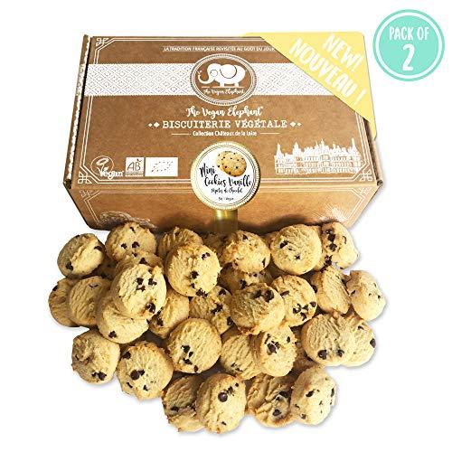 Vegan Mini Cookies Bio Kekse: Vanille-Schokoladen Kekse, 100% Biologisch, Palmöl-Frei & GVO-Frei, Handgefertigt aus Hochwertigen Zutaten. 300G (PACK OF 2)
