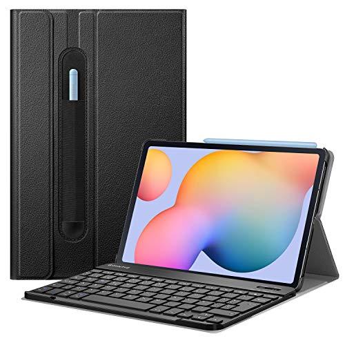 FINTIE Funda con Teclado Español Ñ para Samsung Galaxy Tab S6 Lite 10.4' 2020 (SM-P610/P615) - Carcasa con [Bolsillo para S Pen] y Teclado Bluetooth Inalámbrico Magnético Desmontable, Negro