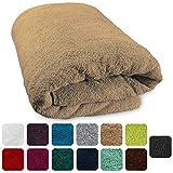 Lanudo XXL Sauna-Handtuch Pure Line Webbördüre 100% Frottier Baumwolle 80 x 200 cm, Farbe Beige