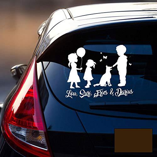 Autotattoo 2 Mädchen 1 Junge & 1 Hund Heckscheiben Aufkleber Namensaufkleber mit Kinder und Namen Wunschnamen M2393 - ausgewählte Farbe: *schokolade* ausgewählte Größe: *L - 30cm hoch x 38cm breit*