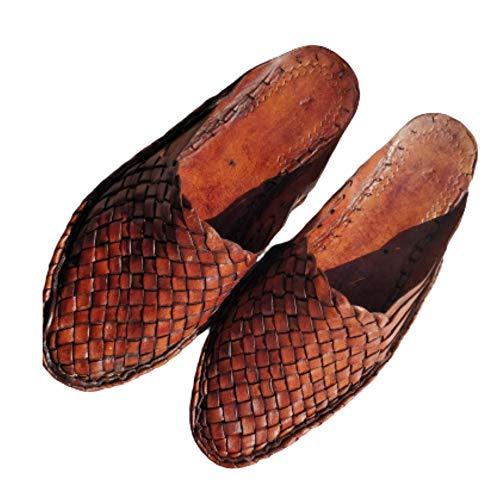 Frühling Sommer Strand Leder Woven Pantoletten Criss Cross Leder Schuhe für Herren Moderne Herren Hausschuhe Indianer Schuhe Casual Loafers für Mann, Braun (braun), 46 EU