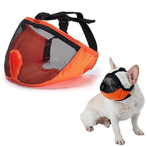 Dog Muzzle for Barking for Short Snout Pitbulls Dog Anti Biting Chewing Eating (Orange)