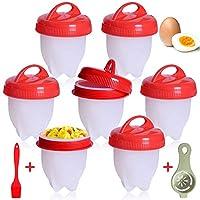 Cuociuova, 7 PCS Cuoci Uova Sode Senza Guscio, Silicone Cuociuova Bolli Uovo Fornello in Camicia Antiaderente Casa e Cucina Accessori per Uova Sode Egg Cooker BPA Free.
