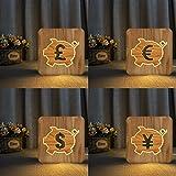 Solo 1 pieza moneda euro dólar libra esterlina luz de noche 3D USB base de madera luz de noche DIY para guardar regalos luces navideñas