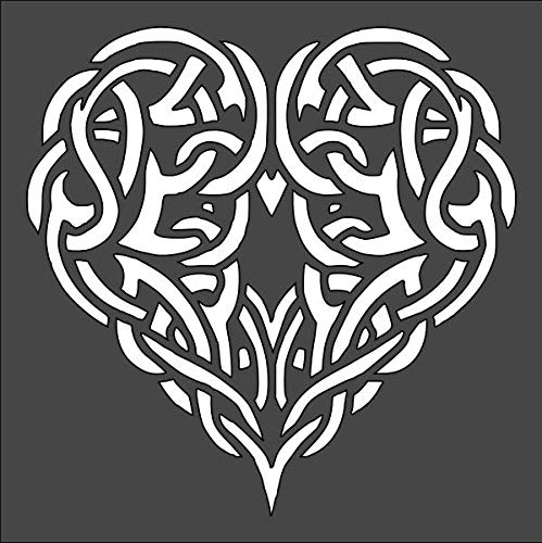 1- 5.5x5.5 inch Custom Cut Stencil, (PA-30) Celtic Heart Knot Arts and Crafts Scrapbooking Painting on The Wall Wood Glass