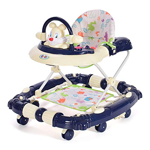CJY-Cushion Baby Walker, Baby Walking Harness,Walking Helper 8 Wheel Anti-Rollover Baby Walkers Light Baby Stroller Push Carts Easy Fold Rocking Chair 6-18month,B