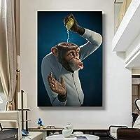 モダンファニーモンキーレモンポスターとプリントウォールアートキャンバス絵画子供部屋の家の装飾のための創造的な変更アート写真30x45cmフレームレス