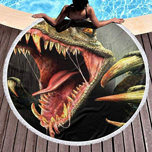 UUwant Toalla de Playa Redonda Round Beach Towel Raptor Turok Youth Towels Extra Large Sand Proof Blanket Yoga Mat with Tassels 59 Inch