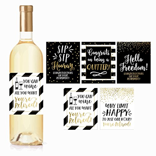 5 Retirement Party Gift Wine Labels or Stickers For Men or Women, Funny Officially Retired...