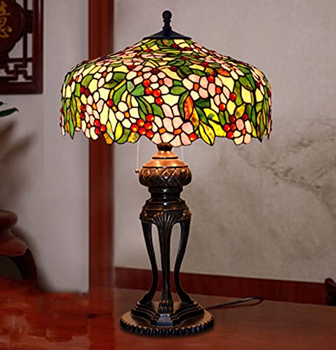Retro Large Bedside Table Light Tiffany Style Nightstand Desk Lamp Ø 50cm Vintage Stained Glass...