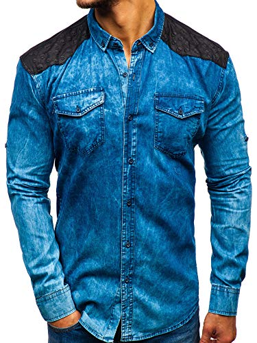 BOLF Hombre Camisa Vaquera de Manga Larga Denim Slim Fit Madmext 0517 Azul M [2B2]