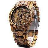 Bewell W086B メンズ 腕時計 日付表示 夜光 アナログ 木製腕時計 ゼブラウッド。