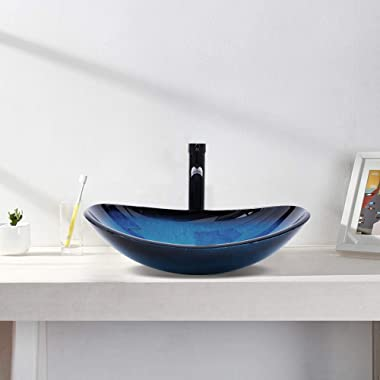 YIMAI Ingenuity Vessel Sink Bathroom Tempered Glass Art Basin Round Bowl with Faucet Combo, Ocean Blue