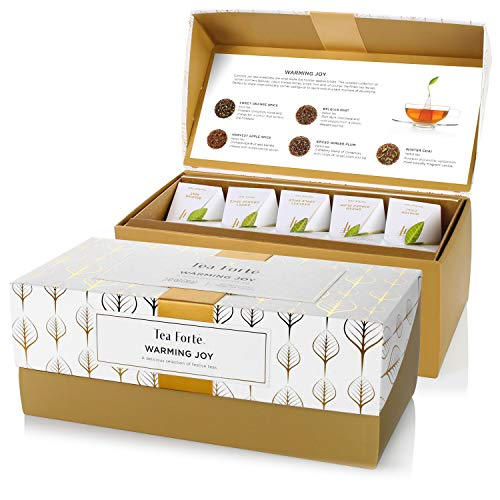 Tea Forte Presentation Box Presentation Box Tea Sampler Gift Set, 20 Assorted Variety Handcrafted Pyramid Tea Infuser Bags (Warming Joy - White/Gold)