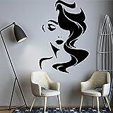Sexy mujer cara labios maquillaje pelo largo niña modelo salón de belleza pegatina de pared vinilo coche calcomanía dormitorio sala de estar club estudio decoración del hogar mural