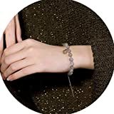 Jade Naturel Pierre De Lune Bracelet Cristal Perles Argent Sterling 925 Plaqué Or...