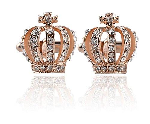 Lumanuby 1 Paar Süße Strass Krone Manschettenknöpfe für Mädchen und Damen Hohl Herrlich Crown Cuff Button für Bluse im Sommer, Manschettenknöpfe Serie size 1.9*1.9cm