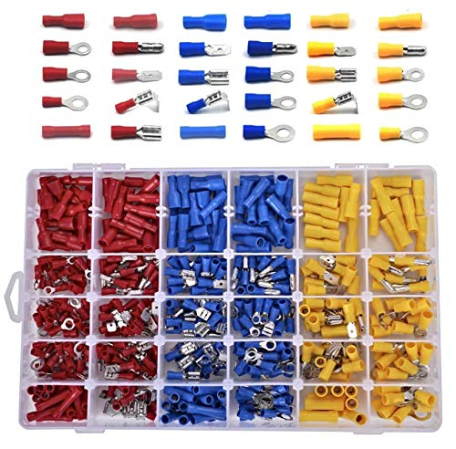Juego de terminales de cable, conectores eléctricos, surtido de 480 piezas, incluye...