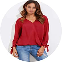 Europe and The United States Women's v-Neck Long-Sleeve Cross Pure Color ms Chiffon Shirt et