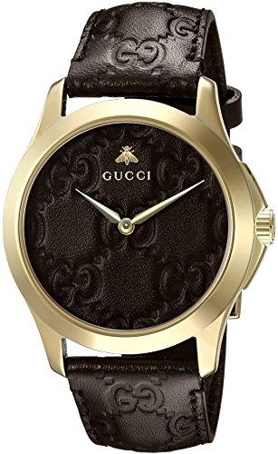 Gucci Unisex Erwachsene Datum klassisch Quarz Uhr mit Leder Armband YA1264035