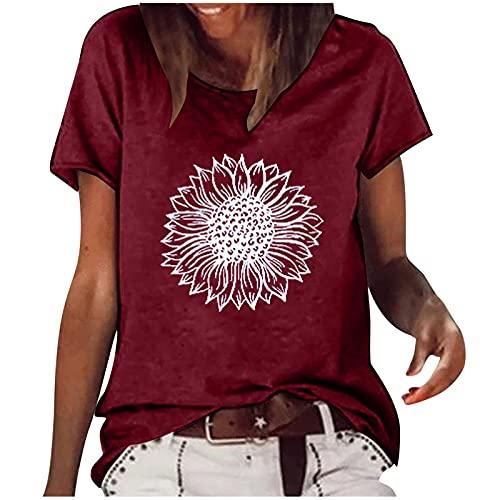 Camiseta de manga corta para mujer, estilo vintage, elegante, con estampado de margaritas, monocolor, suelta, blusa, blusa, tops, informal, cuello redondo, sudadera para niña, camisa, túnica, Vino, M