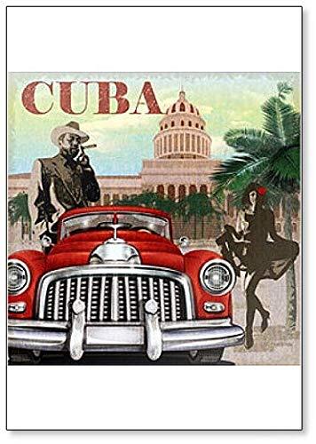 Imán clásico para nevera con póster retro de Cuba