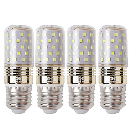 LED maíz bombilla 12W E27 6000K blanco frío LED Candelabros bombillas, 100W bombilla incandescente equivalente, 1200lm, LED vela bombillas No regulables(4 Packs)