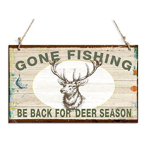 zhongfei Signo de suspensión primitivo Gone Fishing Be Back para la señal de Temporada de Ciervos con Deer Decor (10