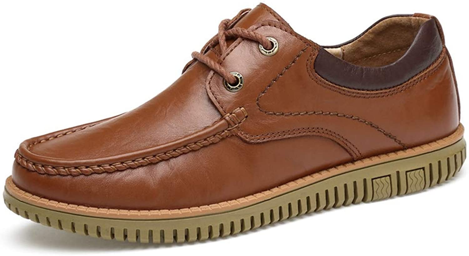 Sam Carle Men's Oxfords Moc-Toe Anti-Slip Lace-up Comfortable Brown Casual shoes