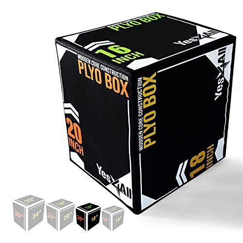 Yes4All Soft Plyo Box/Foam Plyo Box for Exercise, Crossfit, MMA, Plyometric Training – 3-in-1 Plyometric Jump Box with Wooden Core (20/18/16), Black (UYSN)