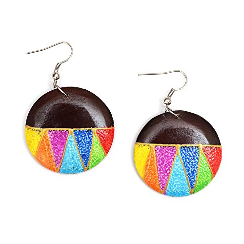 Idin Jewellery - Levendige handgeschilderde zig zag regenboog kleur disc houten drop oorbellen