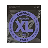 D'Addario Chromes ECG24 Cordes à filet plat pour guitare électrique Jazz Light 11-50