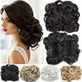 Short Messy Curly Dish Hair Bun Extension Easy Stretch hair Combs Clip in Ponytail Extension Scrunchie Chignon Tray Ponytail Hairpieces Dark Brown