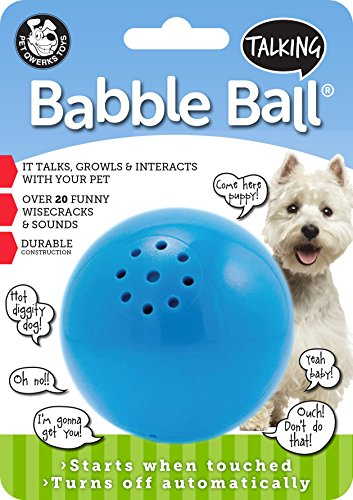 Pet Qwerks Talking Babble Ball Interactive Dog Toys - Wisecracks & Makes Funny Sounds, Electronic Talking Treat Ball That Talks & Makes Noise - Avoids Boredom & Keeps Active | for Medium Dogs