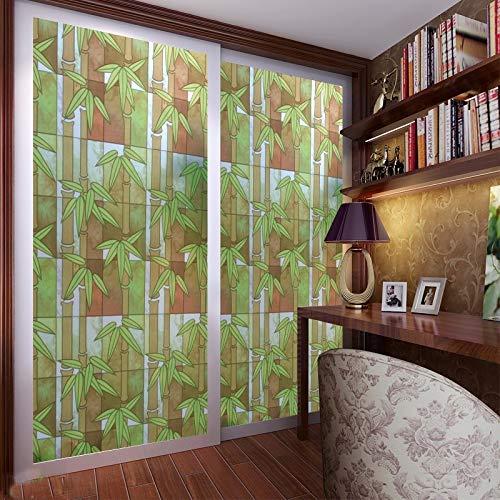 LMKJ Pegamento Autoadhesivo Verde bambú película para Ventana Color Vidrio de Alta Seguridad ladrillo Opaco película de decoración del hogar A43 30x100cm